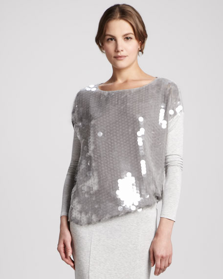 Cori Oversize Sequin-Front Top