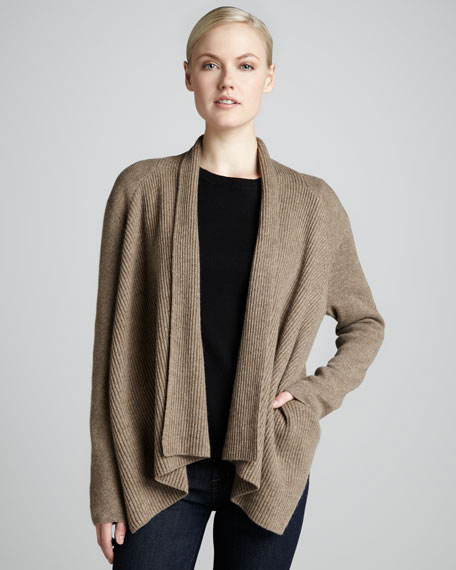 Draped Ribbed Cashmere Cardigan