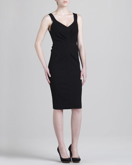 Seamed Sleeveless Sheath Dress