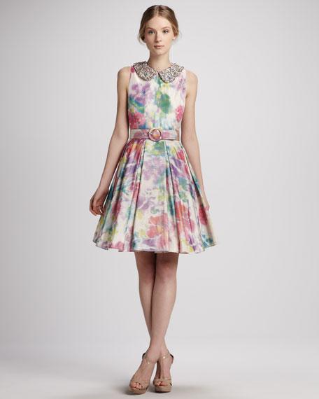 Alice + Olivia Lollie Belted Embellished-Collar Dress