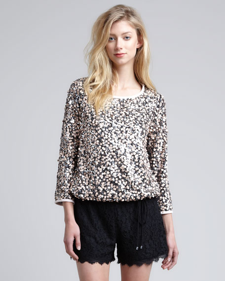 Kavita Metallic Sequined Top