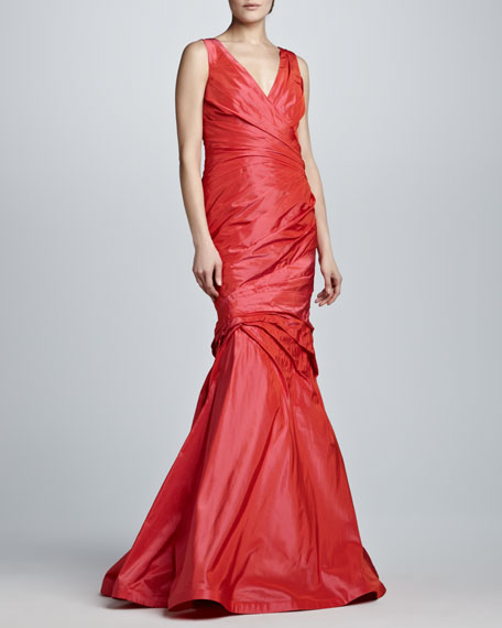 Ruched V-Neck Trumpet Gown