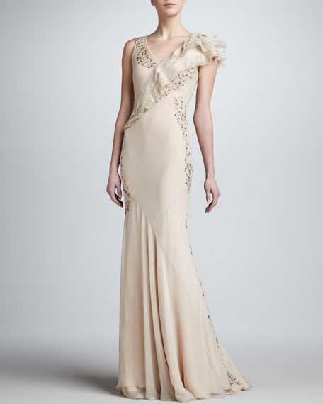 Embroidered Mousseline Gown, Light Peach