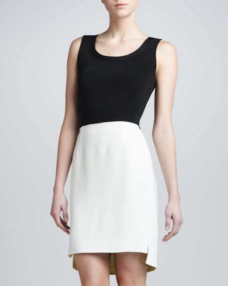 Structured Crepe Skirt, Chalk