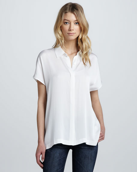 Stretch-Silk Short-Sleeve Blouse