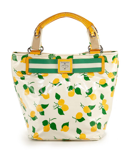 Fruit-Print Beach Tote, Yellow