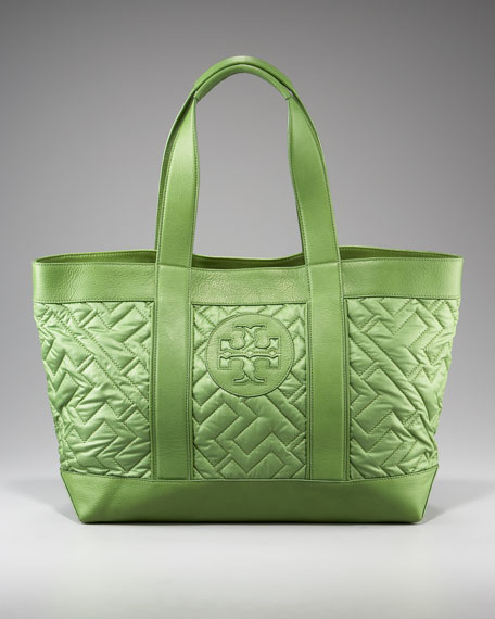 Quilted Tory Beach Tote, Garden Green