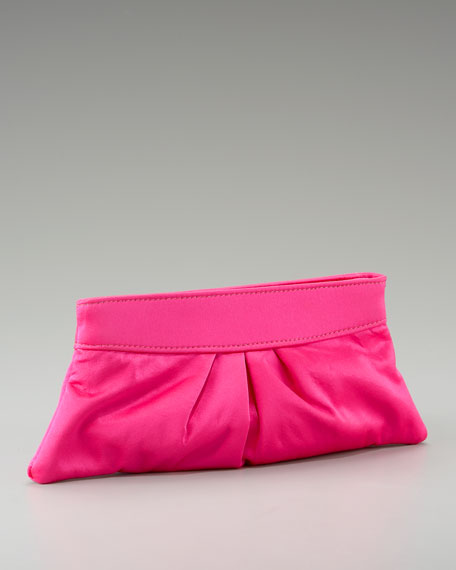 Eve Satin Clutch, Fuchsia or Silver
