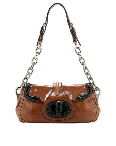 Vitello Shine + Vernice Chain Shoulder Bag