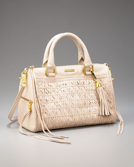 Flame Woven Leather Satchel