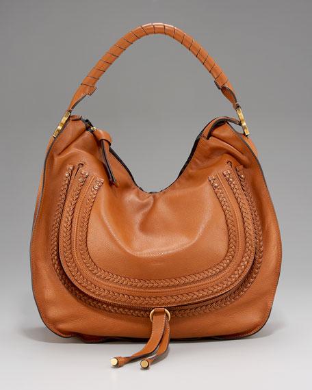 Chloe Marcie Large Braided Hobo Bag, Tan