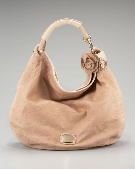 Sky Snake-Trim Leather Hobo