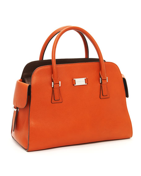 Gia Leather Satchel, Tangerine
