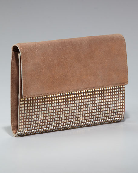 Easy Leather and Crystal Clutch