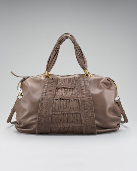 Bethany Ruched Leather Satchel