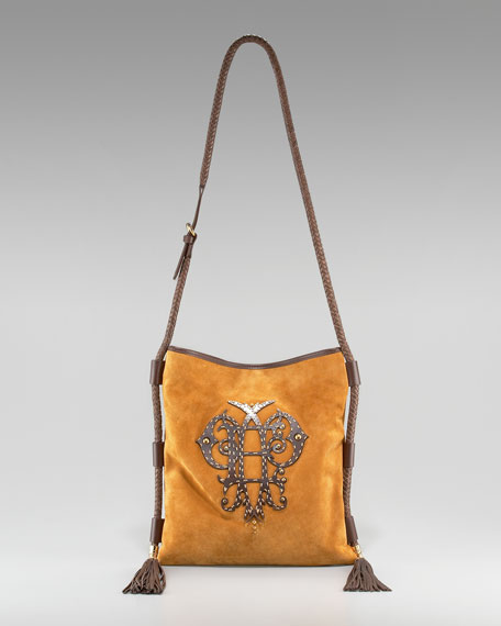 Suede Logo Flat Crossbody Bag