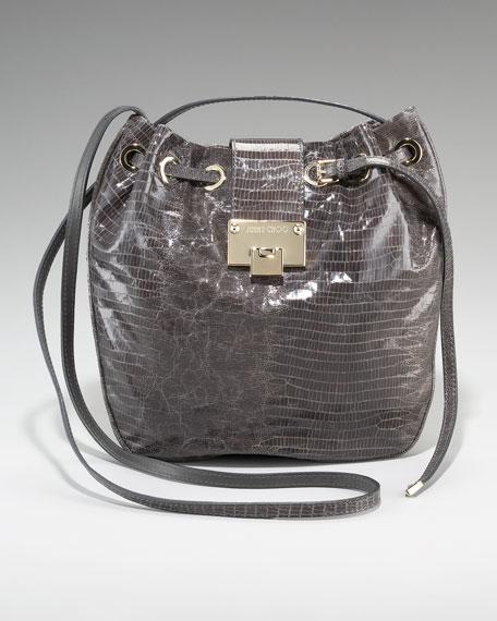 Jimmy Choo Lizard-Embossed Bucket Bag