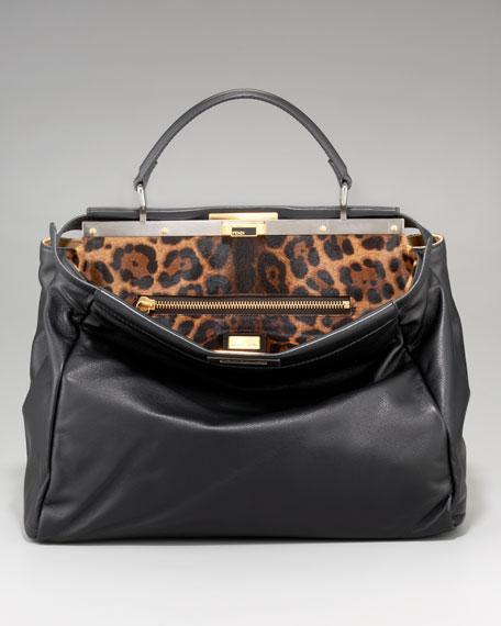 c1bec9f5d893 Fendi Leopard-Print Calf Hair Peekaboo Bag