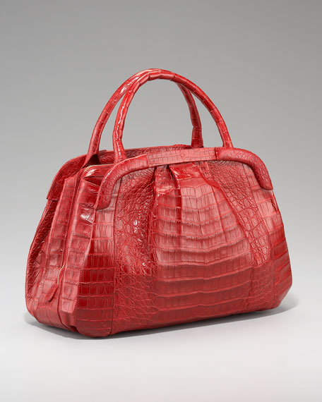 Framed Crocodile Tote, Red