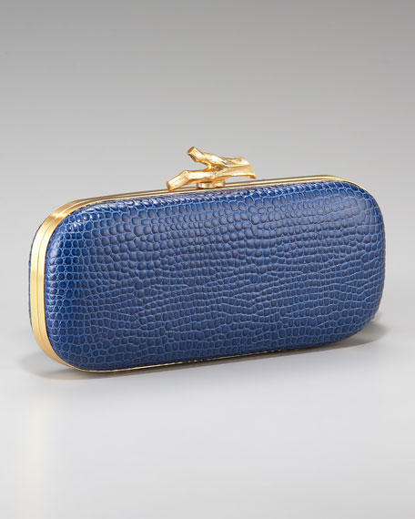 Lytton Crocodile-Embossed Clutch