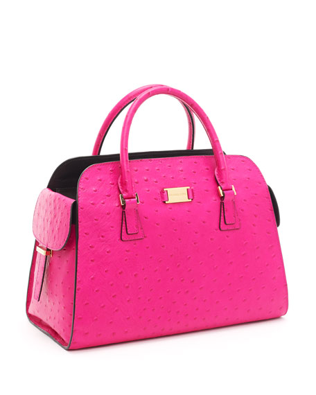 Gia Ostrich-Embossed Leather Satchel, Neon Pink