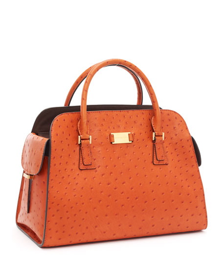 Gia Ostrich-Embossed Leather Satchel, Tangerine