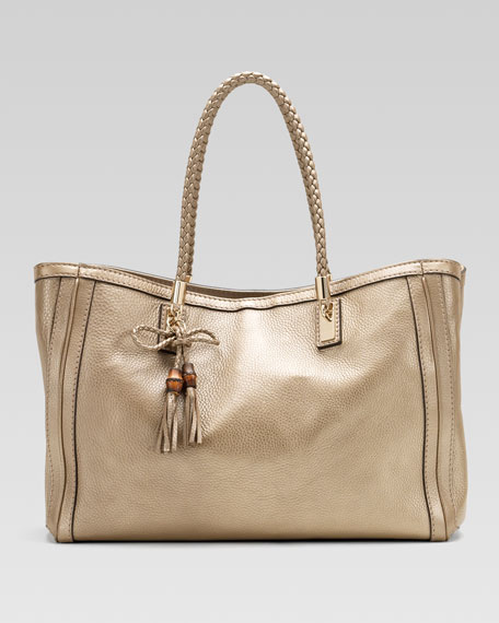 Bella Medium Tote, Metallic Champagne