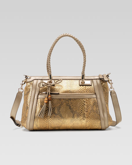 Bella Medium Top Handle Bag, Oro/Champagne Python