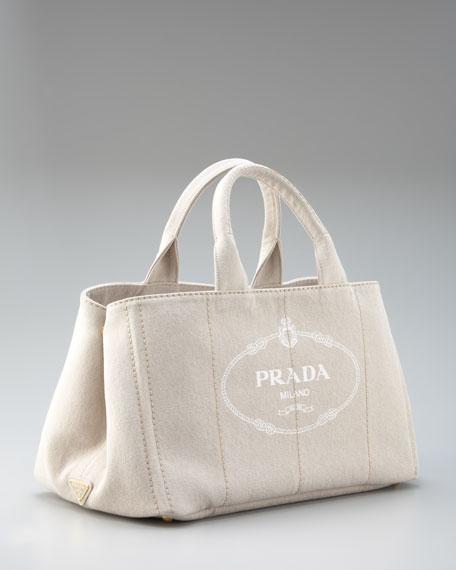 prada small nylon shoulder bag - Prada Denim Logo Tote