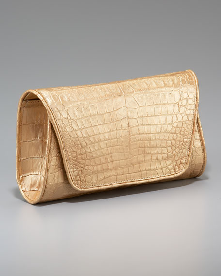 Metallic Crocodile Flap Clutch
