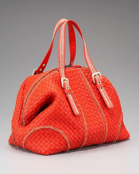 Contrast-Stitched Woven Tote