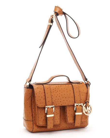 Ostrich-Embossed Saddle Bag School Satchel, Luggage