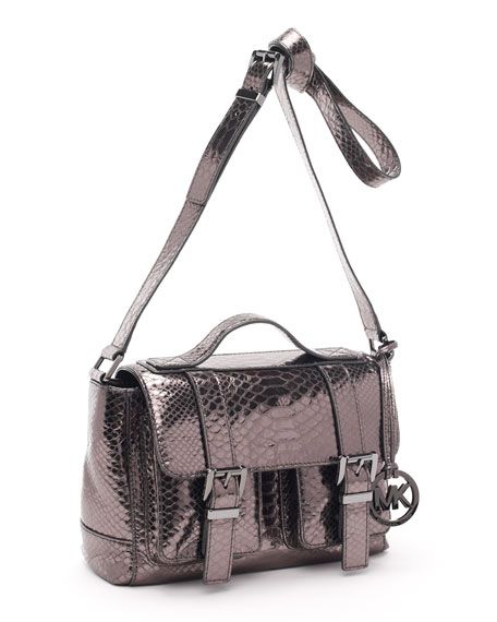 Python-Embossed Saddle Bag School Satchel, Gunmetal