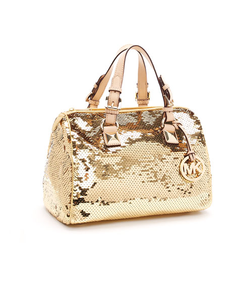 Medium Grayson Sequin Satchel, Gold