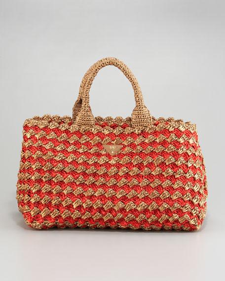 Bi-Color Raffia Tote Bag