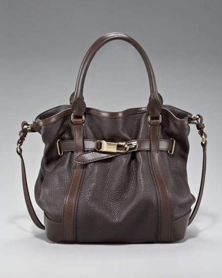 Belted Leather Tote, Medium