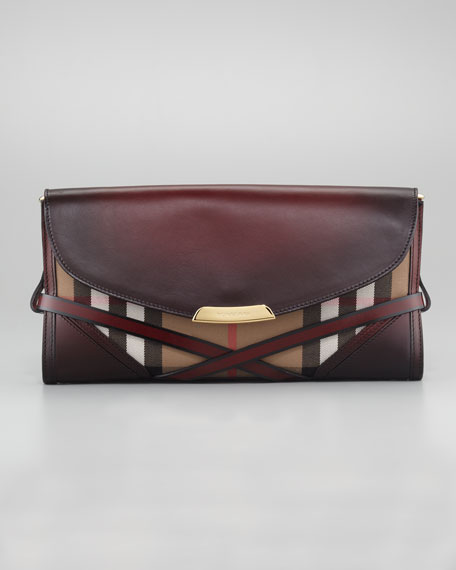 Leather & Check Clutch Bag
