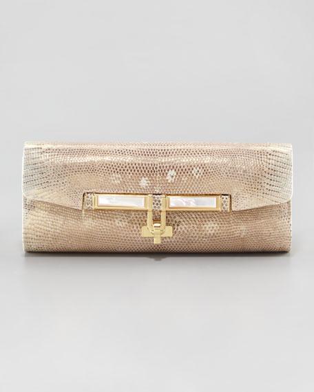 Emalia Rectangle Lizard Clutch Bag