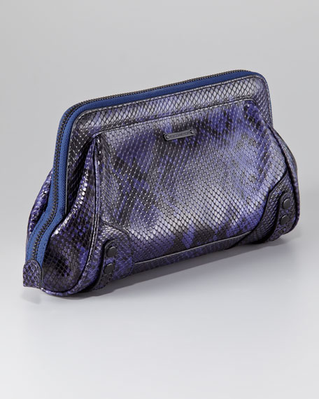 Mason Snake-Embossed Clutch Bag