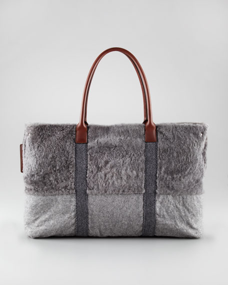 Shaved Shearling Tote Bag