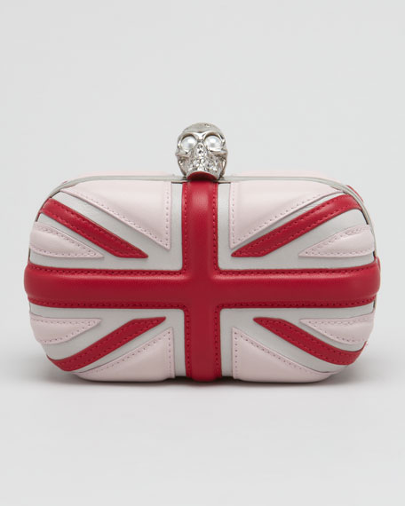 Leather Britannia Box Clutch Bag, Ice Pink