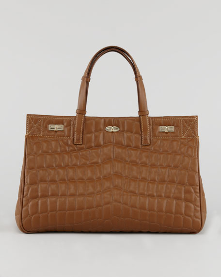 Vault Croc-Quilted Satchel Bag