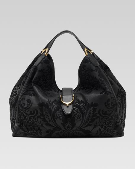 Soft Stirrup Brocade Shoulder Bag, Large