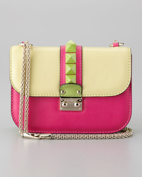 Glam Lock Colorblock Small Flap Bag, Soft Yellow/Pop Fuchsia