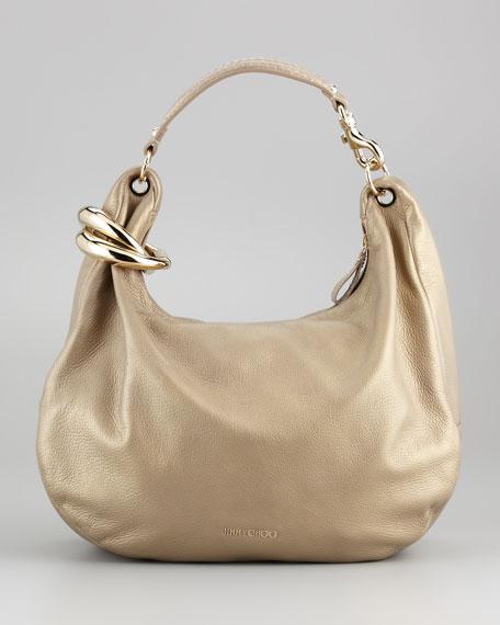 Solar Metallic Hobo Bag, Sand