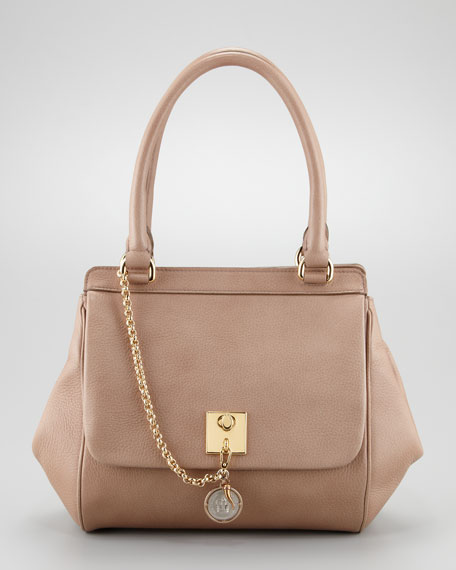 Miss Bianca Leather Chain Handbag, Powder