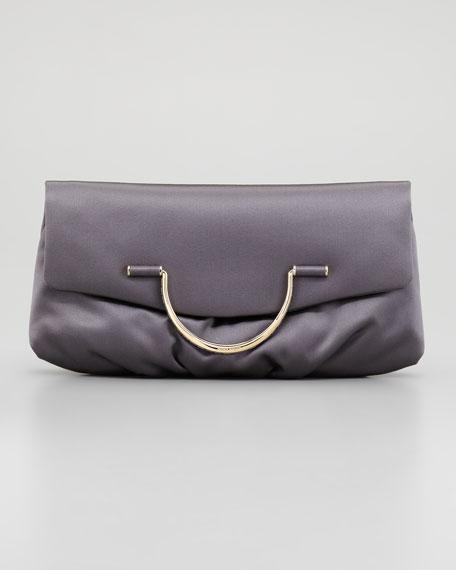 Satin Bijou Pouchette Clutch Bag, Taupe