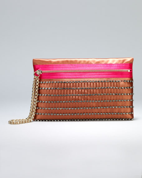 Faubourg Small Satin Clutch Bag, Rust