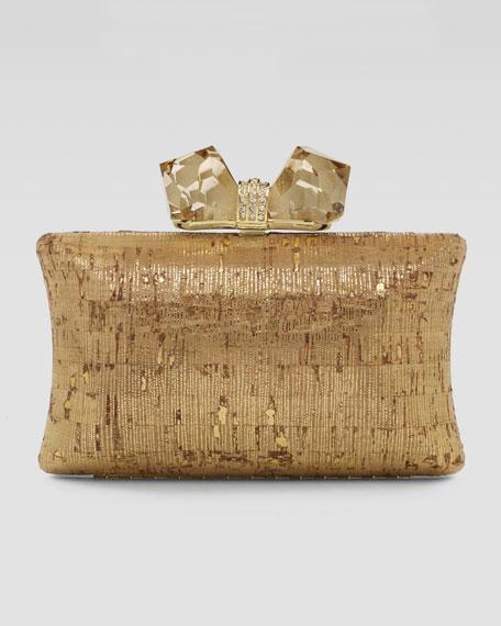 Vanessa Large Cork Concave Clutch Bag, Gold