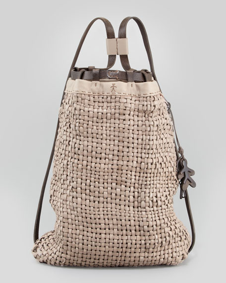 Woven Leather Backpack Tote Bag